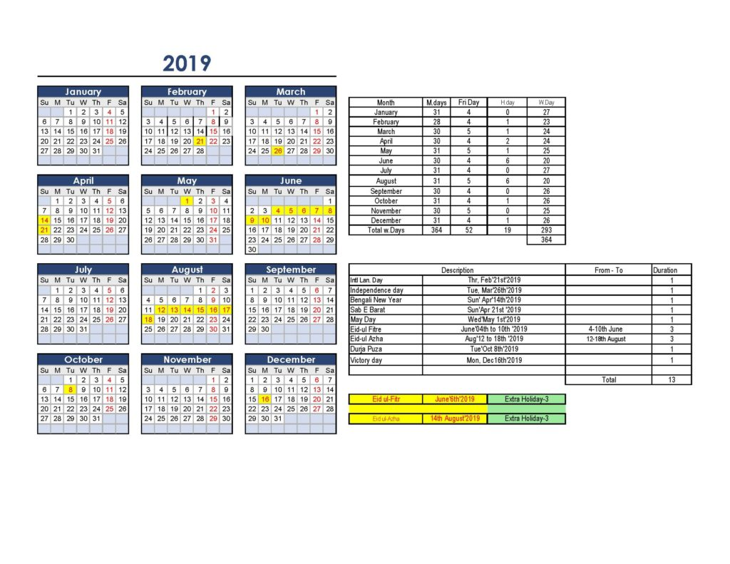 2019-Holiday Calender- Proposed